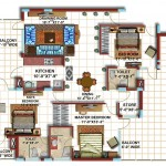 3 BHK First Floor Furniture Plan