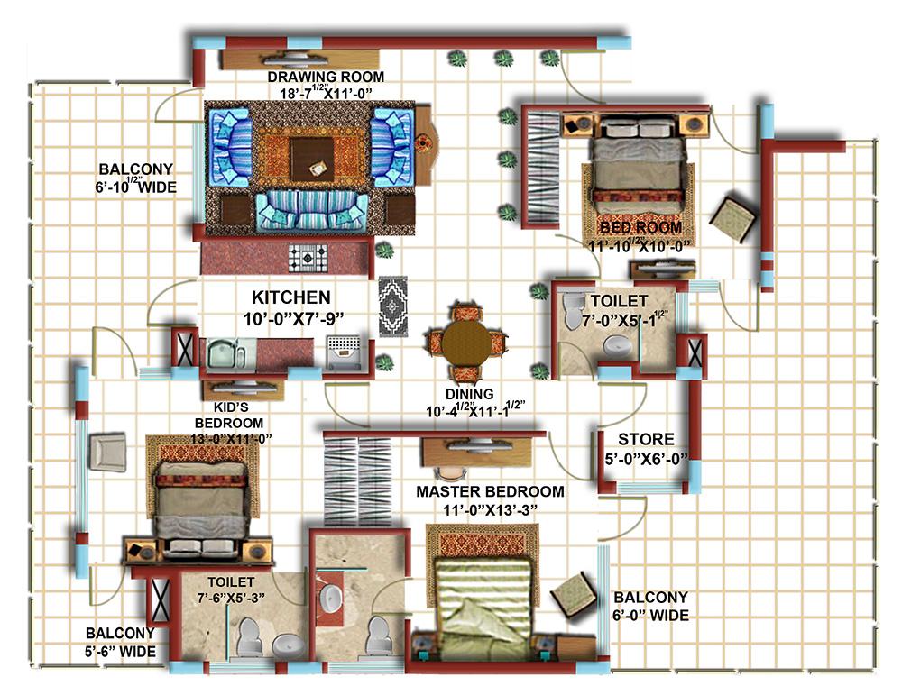 3 BHK First Floor Furniture Plan