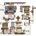 3 BHK Typical Floor Furniture Plan