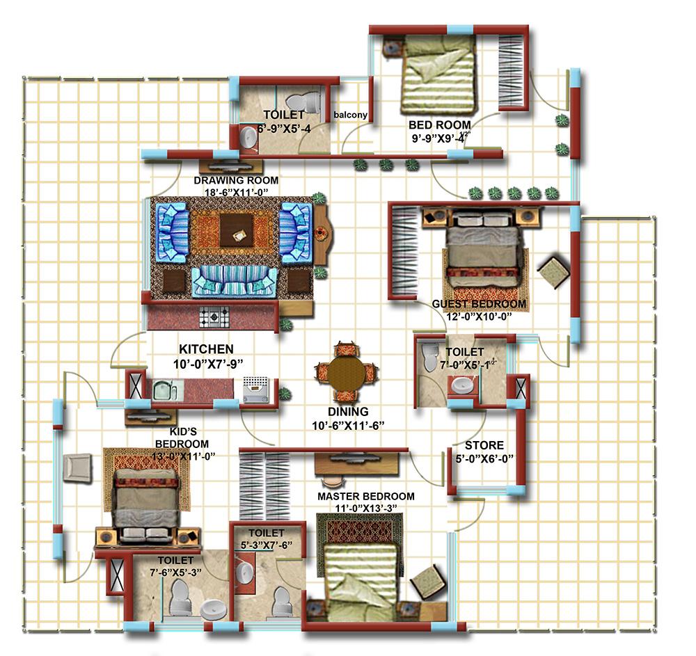 4 BHK First Floor Furniture Plan