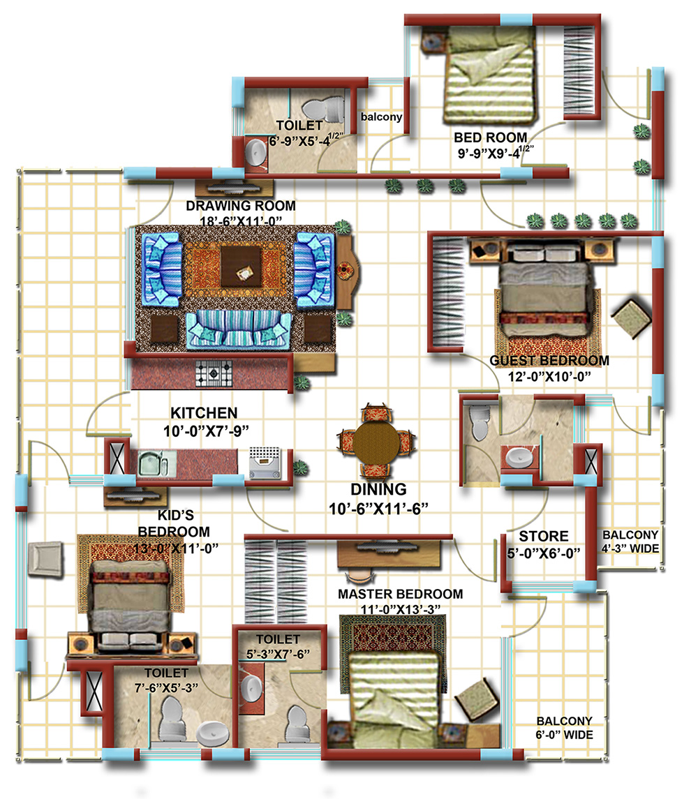 4 BHK Typical Floor Plan